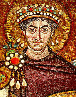 Justinian I depicted on a Byzantine mosaic