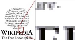 This example shows a former Wikipedia logo with a portion greatly enlarged. The different  of grey blend together to create the  of a smooth image. Note that sometimes (as in the example here) the edge pixels of text are reduced in shade to produce a less stepped look when viewed at normal size. This is called .